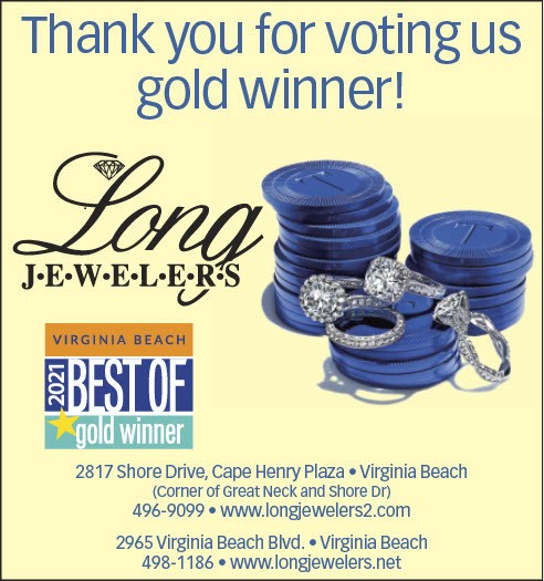 """Long Jewelers Awarded the """"Best of Virginia Beach Gold Winner"""" for 2021"""