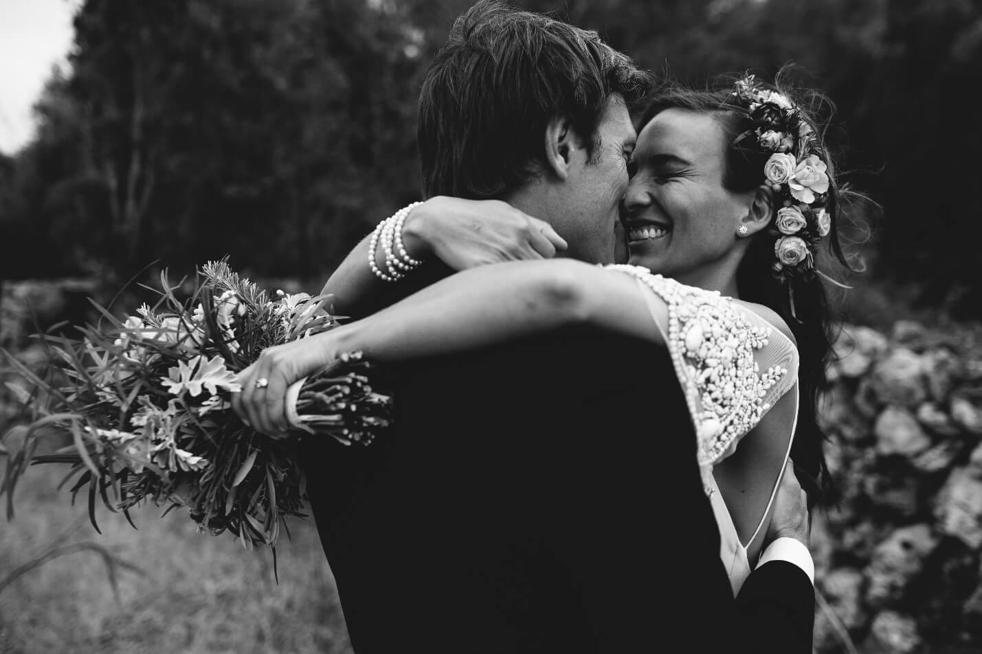 Black and White Couple Embracing